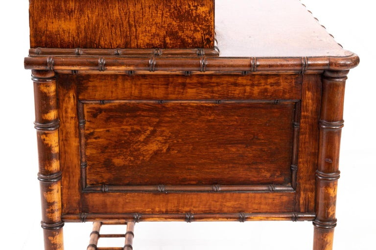American 19th Century Bird's-Eye Maple Faux Bamboo Dressing Table by R. J. Horner