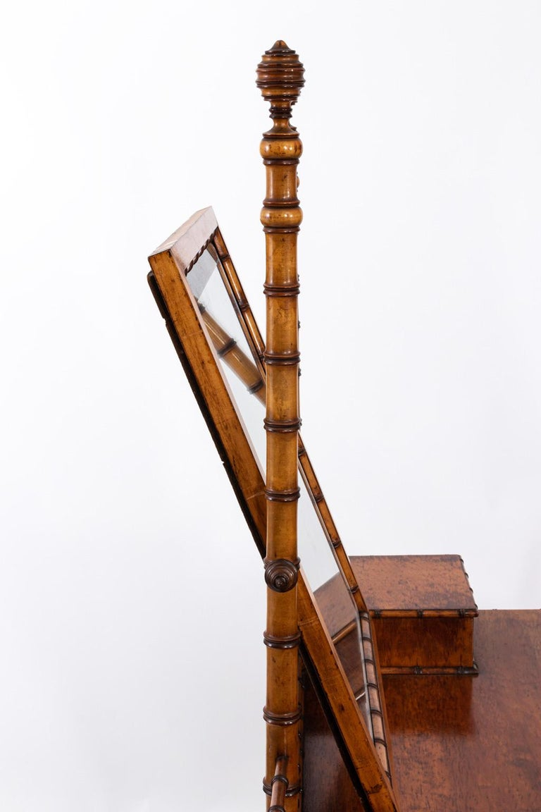 19th Century Bird's-Eye Maple Faux Bamboo Dressing Table by R. J. Horner 1