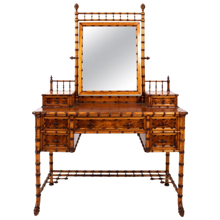 19th Century Bird's-Eye Maple Faux Bamboo Dressing Table by R. J. Horner