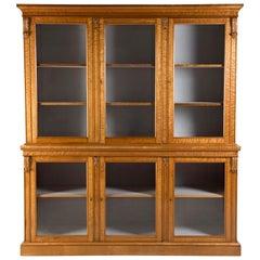 19th Century Bird's-Eye Maple Glazed Bookcase