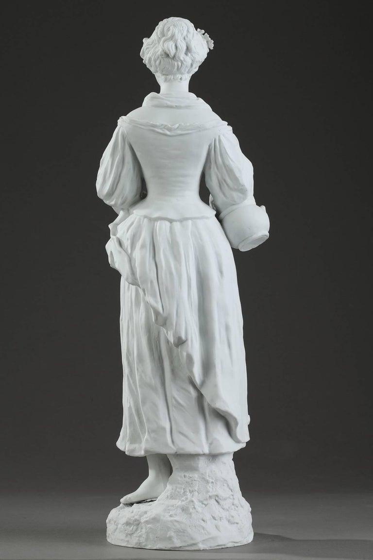 19th Century Biscuit Statuette Young Woman with Flowers For Sale 5