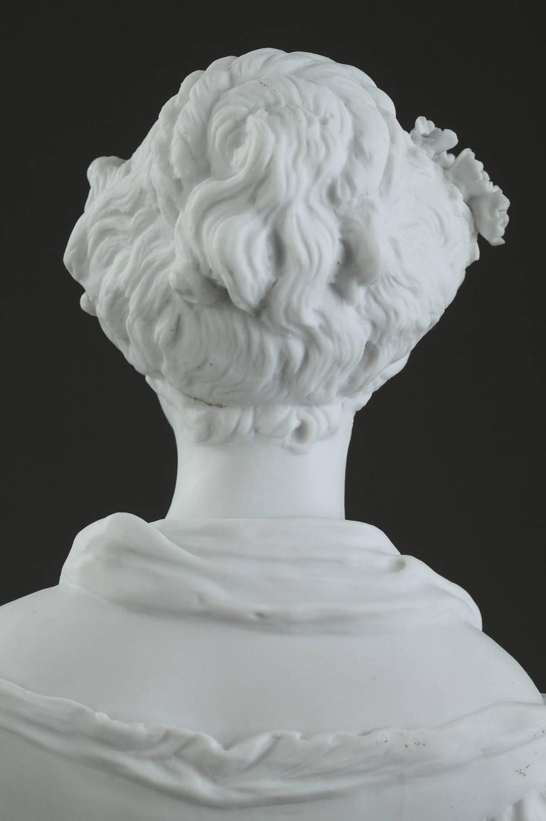 19th Century Biscuit Statuette Young Woman with Flowers For Sale 6