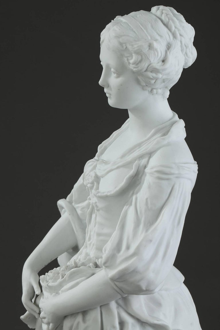 19th Century Biscuit Statuette Young Woman with Flowers For Sale 7