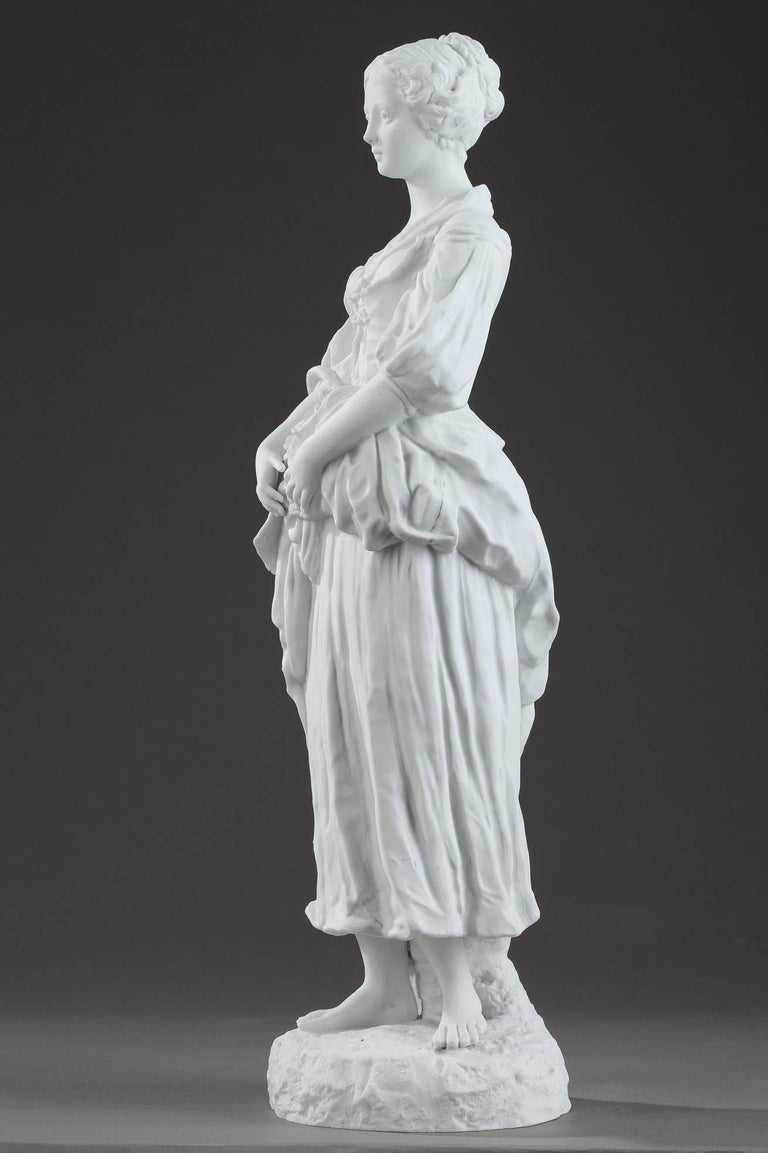 19th Century Biscuit Statuette Young Woman with Flowers For Sale 8