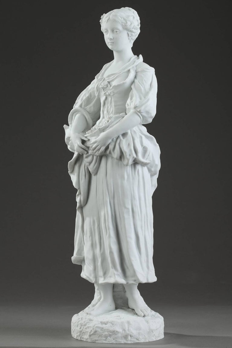 19th Century Biscuit Statuette Young Woman with Flowers For Sale 9