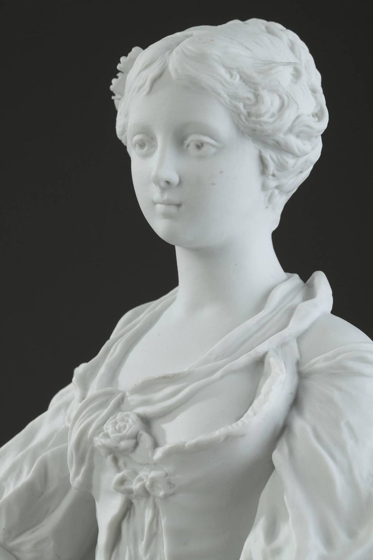 19th Century Biscuit Statuette Young Woman with Flowers For Sale 10