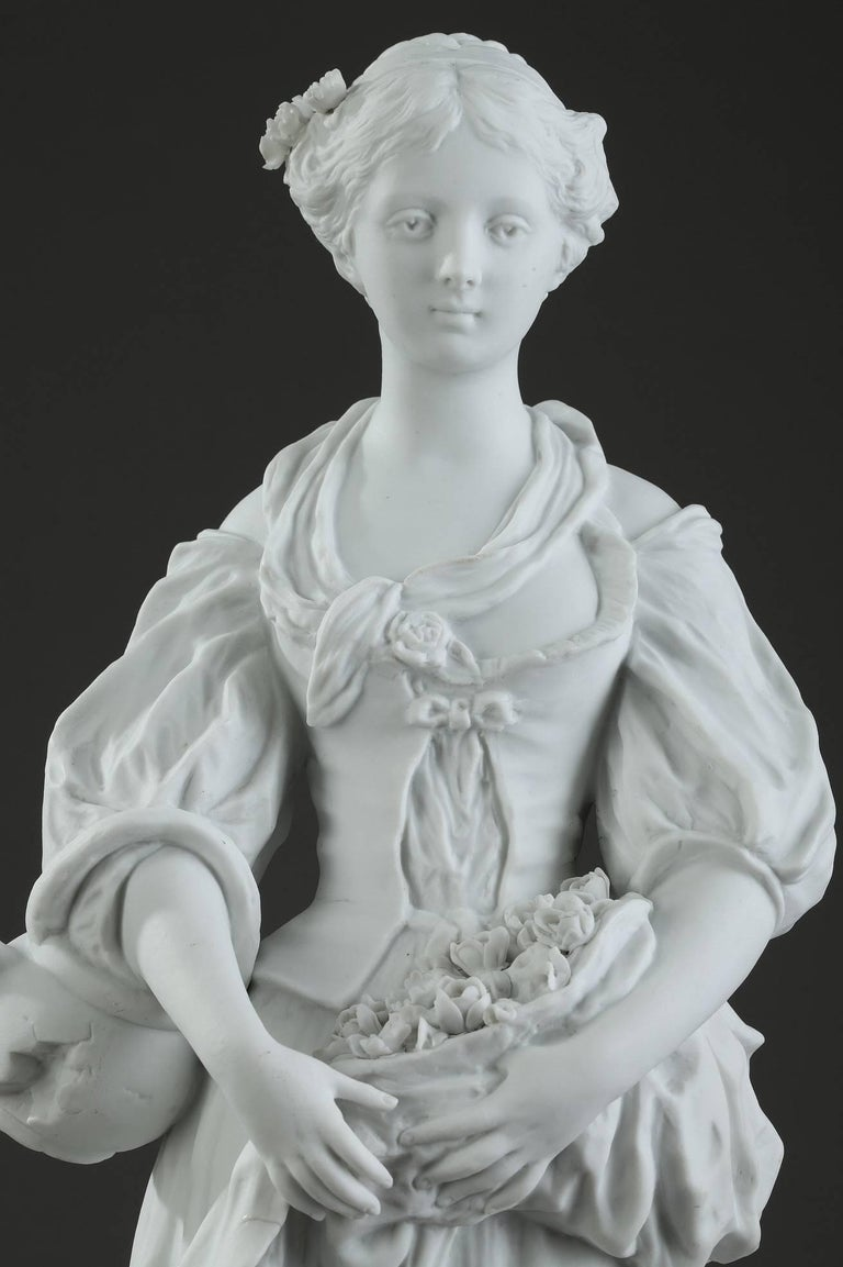 Neoclassical 19th Century Biscuit Statuette Young Woman with Flowers For Sale