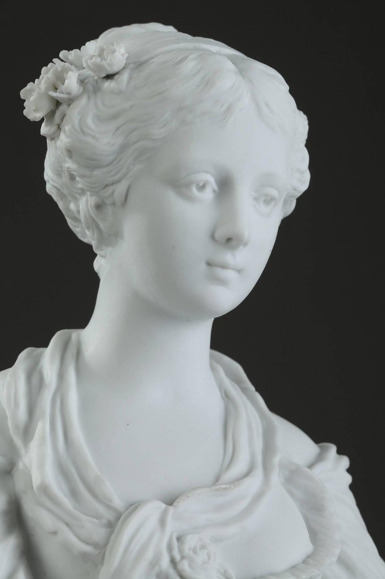 19th Century Biscuit Statuette Young Woman with Flowers For Sale 1