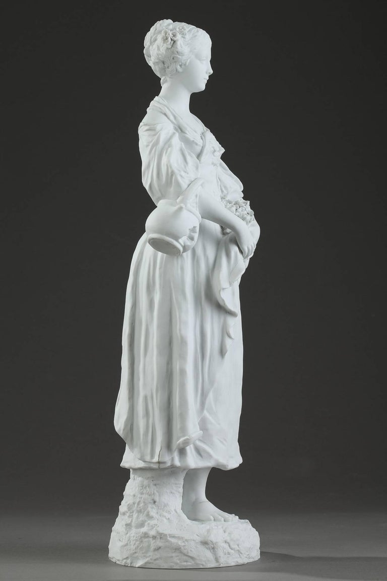 19th Century Biscuit Statuette Young Woman with Flowers For Sale 3
