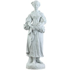 19th Century Biscuit Statuette Young Woman with Flowers