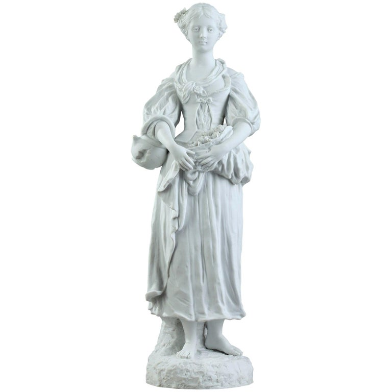 19th Century Biscuit Statuette Young Woman with Flowers For Sale