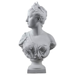 19th Century Bisque Bust: Diana the Huntress After Houdon