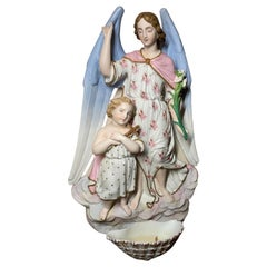 19th Century Bisque Porcelain Guardian Angel & Child Holy Water Font Wall Plaque