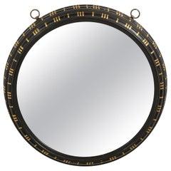 19th Century Black and Gilt Concave Circular Mirror