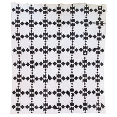 19th Century Black and White Geometric Quilt