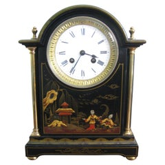 19th Century Black Chinoiserie Break Arch Mantel Clock