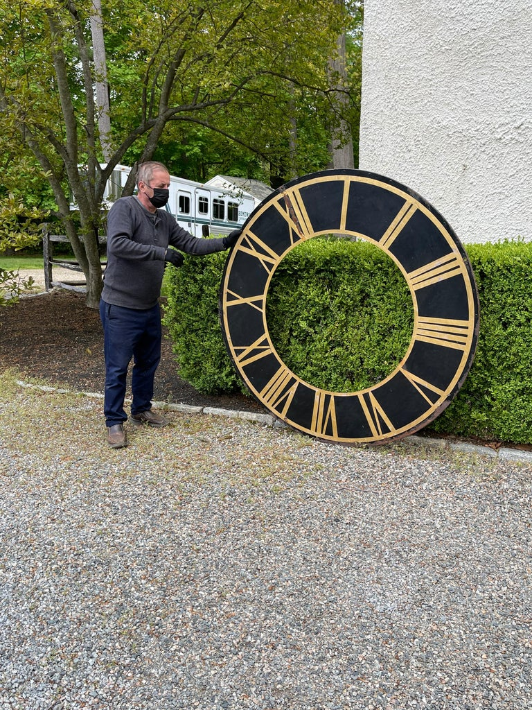American 19th Century Black Church Clock Face with Gilt Roman Numerals and Hands For Sale