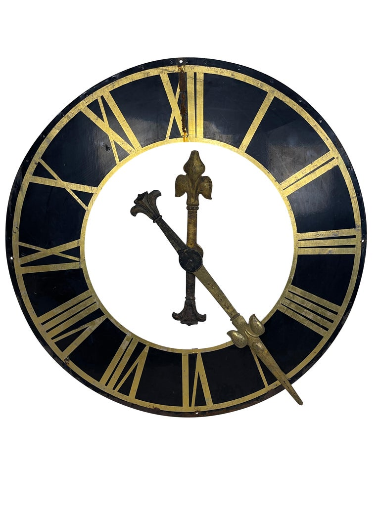 Metal 19th Century Black Church Clock Face with Gilt Roman Numerals and Hands For Sale