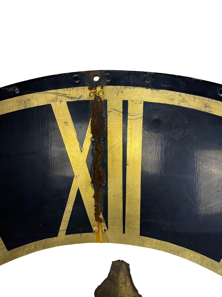 19th Century Black Church Clock Face with Gilt Roman Numerals and Hands For Sale 1