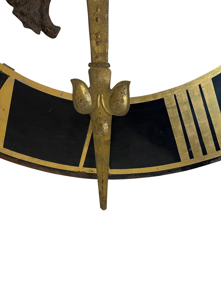 19th Century Black Church Clock Face with Gilt Roman Numerals and Hands For Sale 4