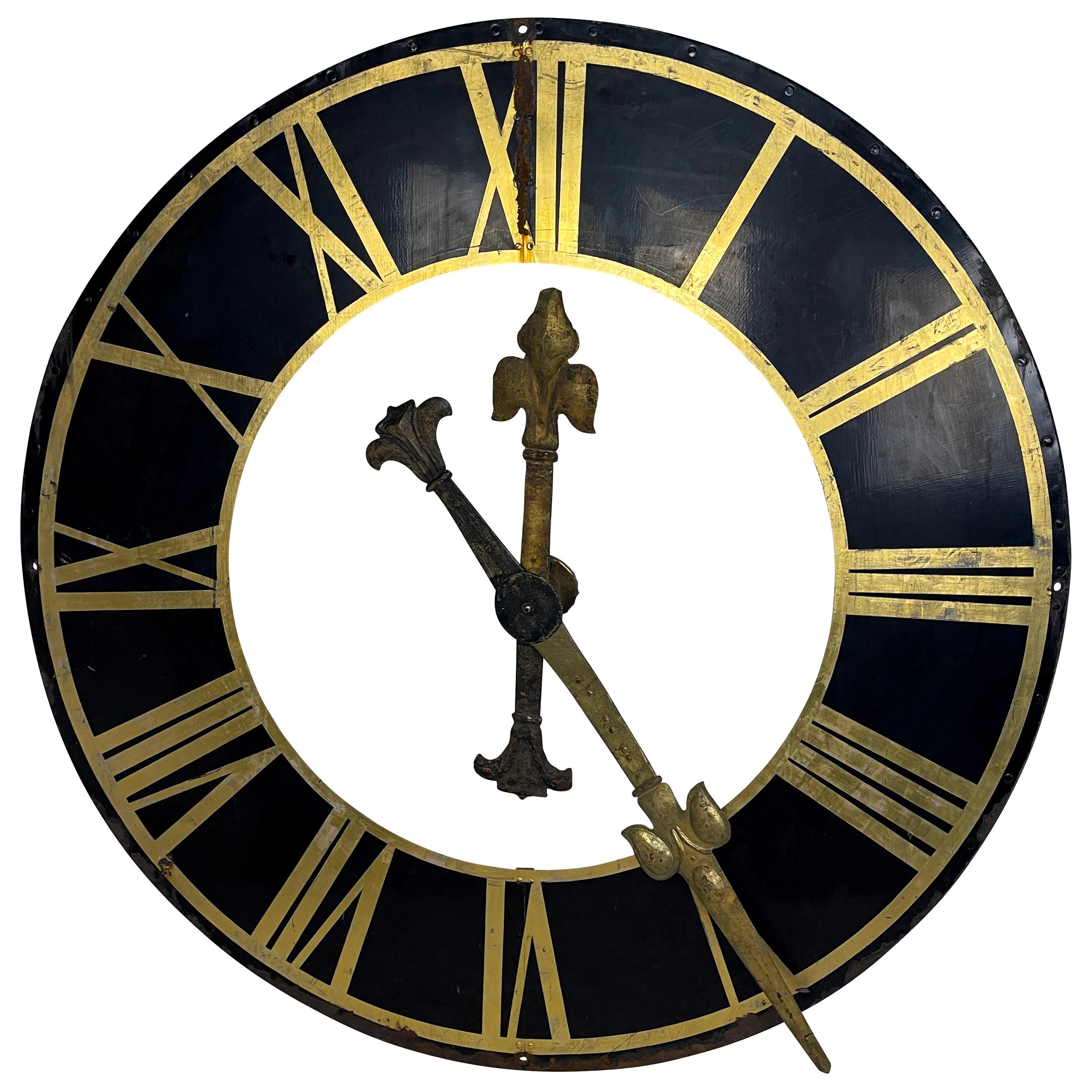 19th Century Black Church Clock Face with Gilt Roman Numerals and Hands