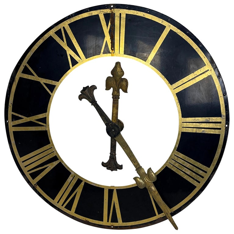 19th Century Black Church Clock Face with Gilt Roman Numerals and Hands For Sale