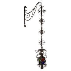 19th Century Black Filigree Iron Hanging Wall Lantern W/ Colored Glass