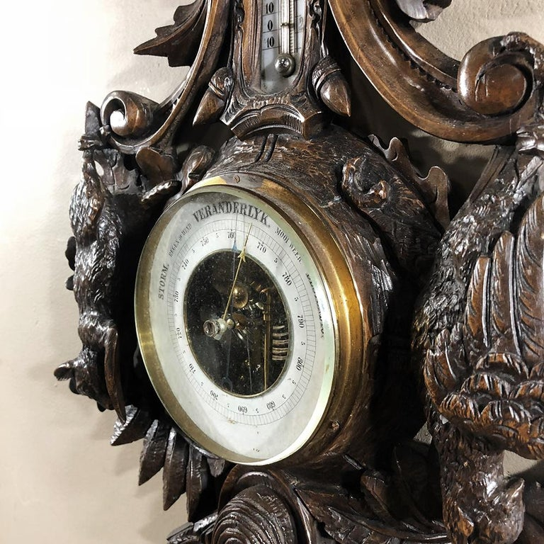 19th Century Black Forest Barometer, Thermometer For Sale 4
