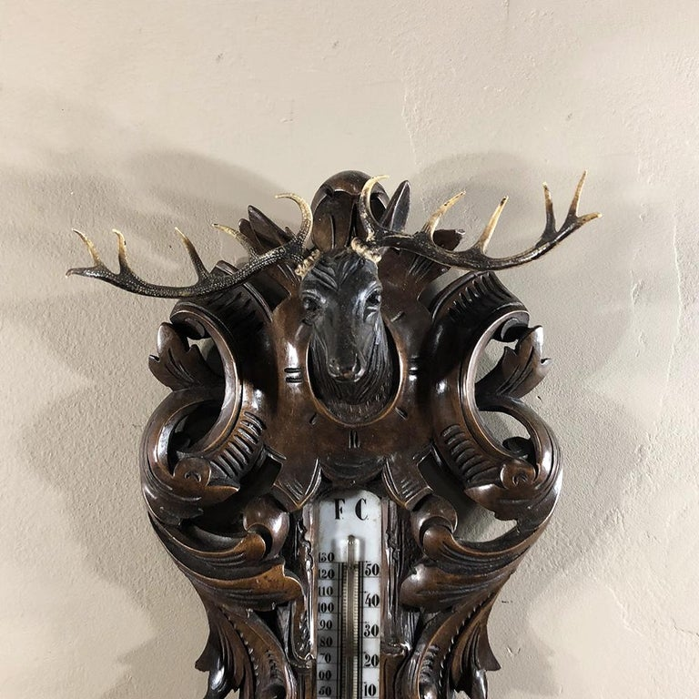 Hand-Carved 19th Century Black Forest Barometer, Thermometer For Sale