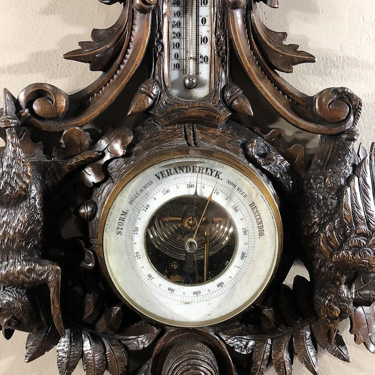 Walnut 19th Century Black Forest Barometer, Thermometer For Sale