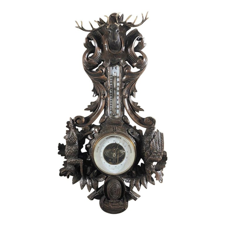 19th Century Black Forest Barometer, Thermometer For Sale