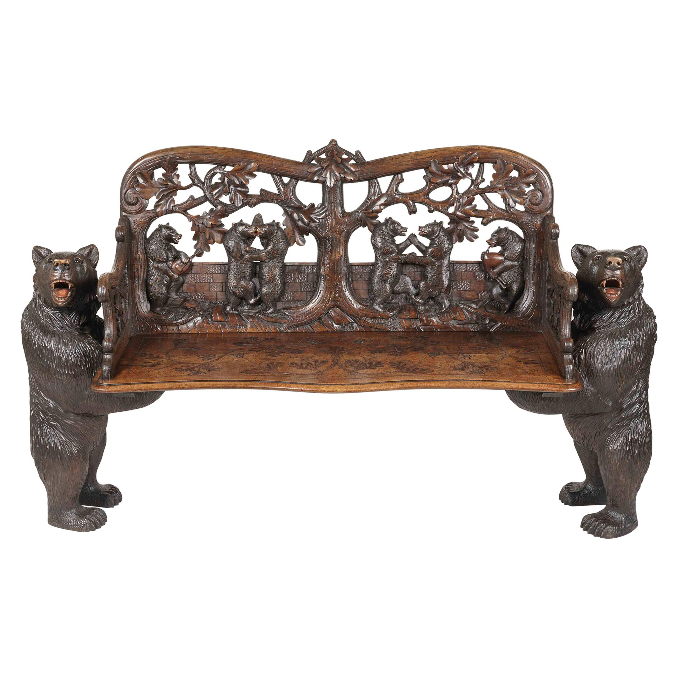 19th Century 'Black Forest' Carved Bear Bench