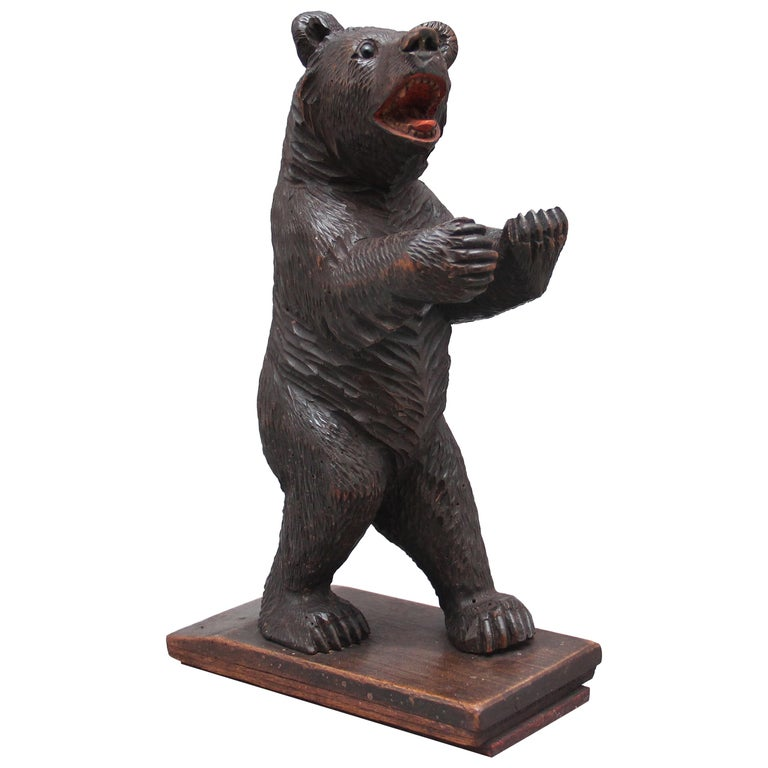 19th Century Black Forest Carved Bear For Sale