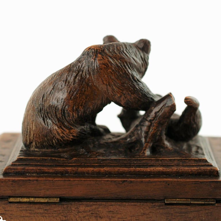 German 19th Century Black Forest Carved Bear Motif Wood Box with Swing-Out Compartment For Sale