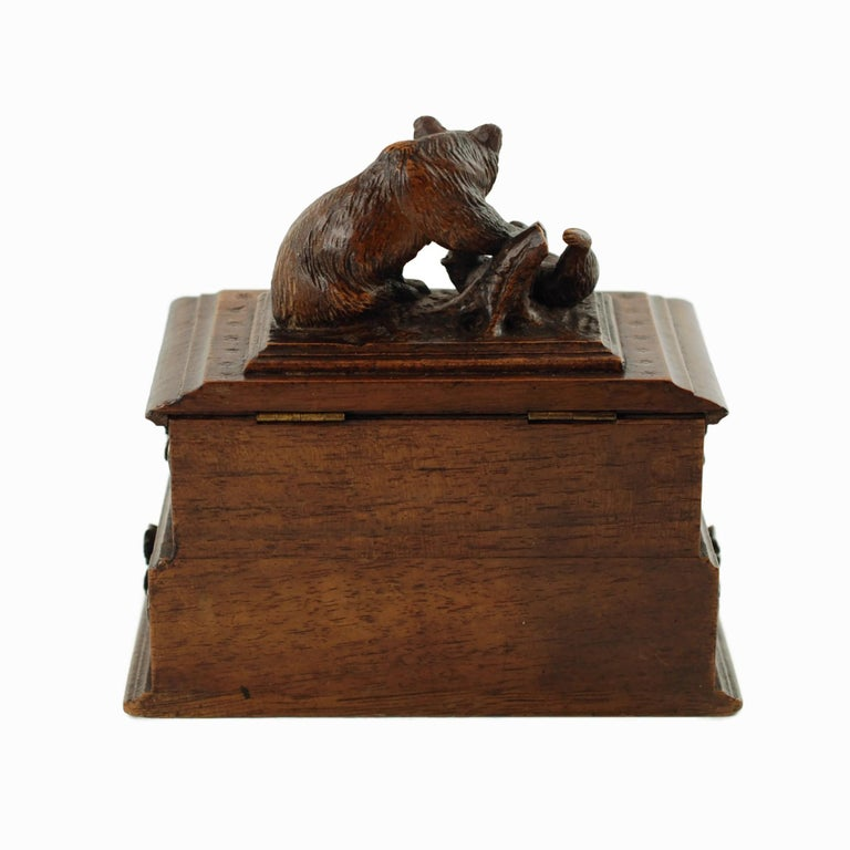 Glass 19th Century Black Forest Carved Bear Motif Wood Box with Swing-Out Compartment For Sale