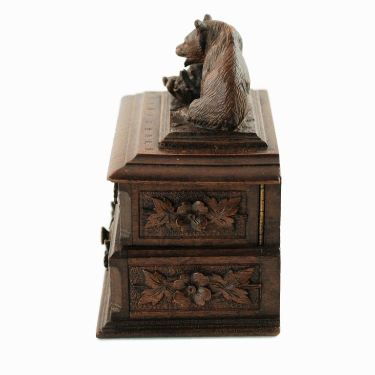 19th Century Black Forest Carved Bear Motif Wood Box with Swing-Out Compartment For Sale 1