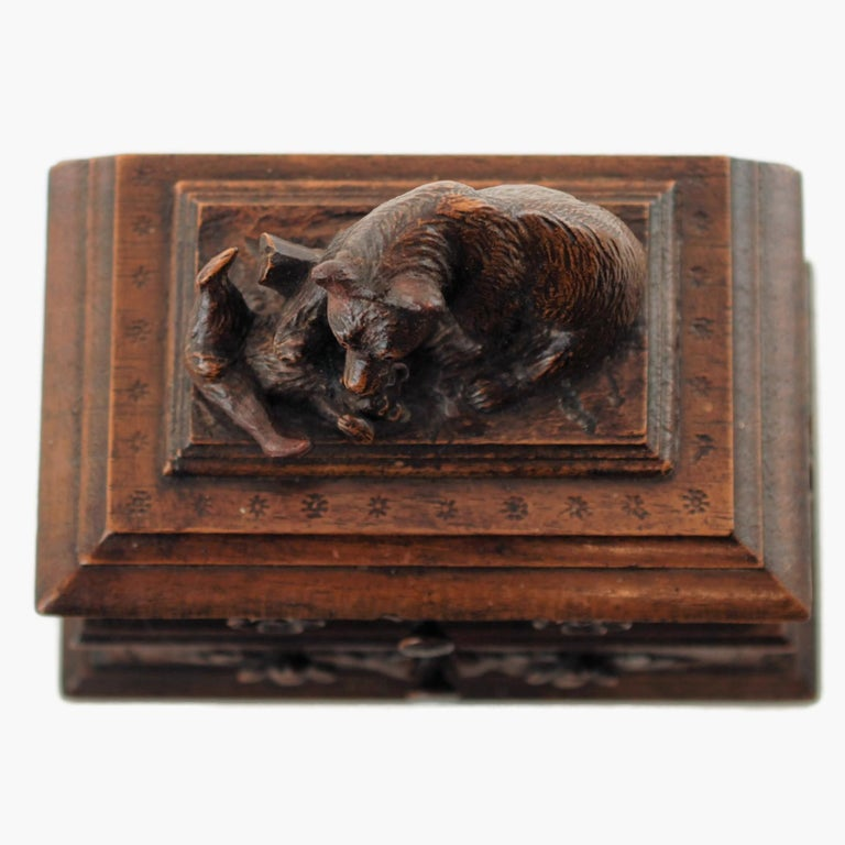 19th Century Black Forest Carved Bear Motif Wood Box with Swing-Out Compartment For Sale 2
