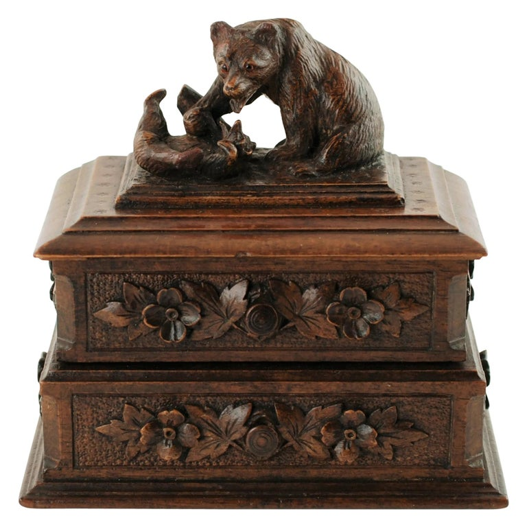 19th Century Black Forest Carved Bear Motif Wood Box with Swing-Out Compartment For Sale
