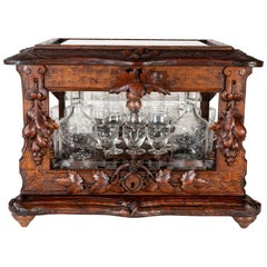 19th Century Black Forest Carved Tantalus Set