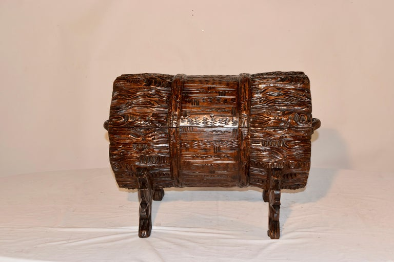 19th Century Black Forest Carved Trunk For Sale 5