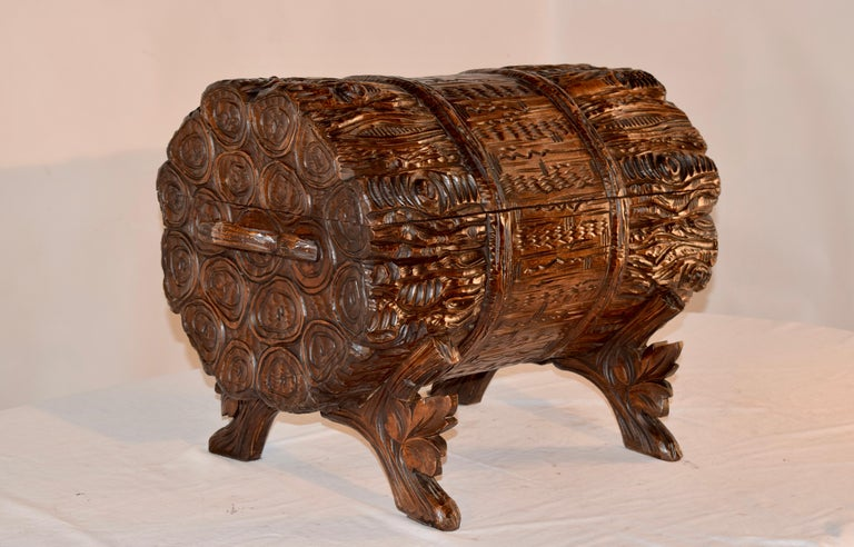 Swiss 19th Century Black Forest Carved Trunk For Sale