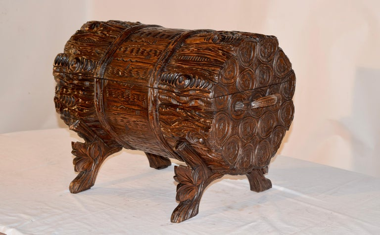 Hand-Carved 19th Century Black Forest Carved Trunk For Sale