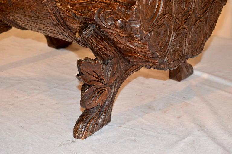 19th Century Black Forest Carved Trunk In Good Condition For Sale In High Point, NC
