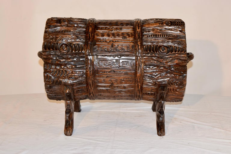 19th Century Black Forest Carved Trunk For Sale 1