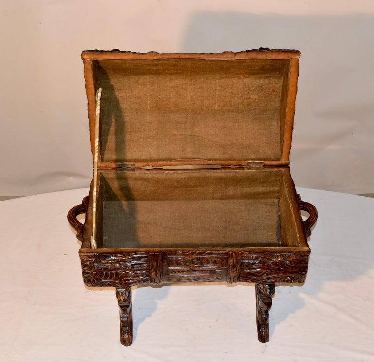 19th Century Black Forest Carved Trunk For Sale 2