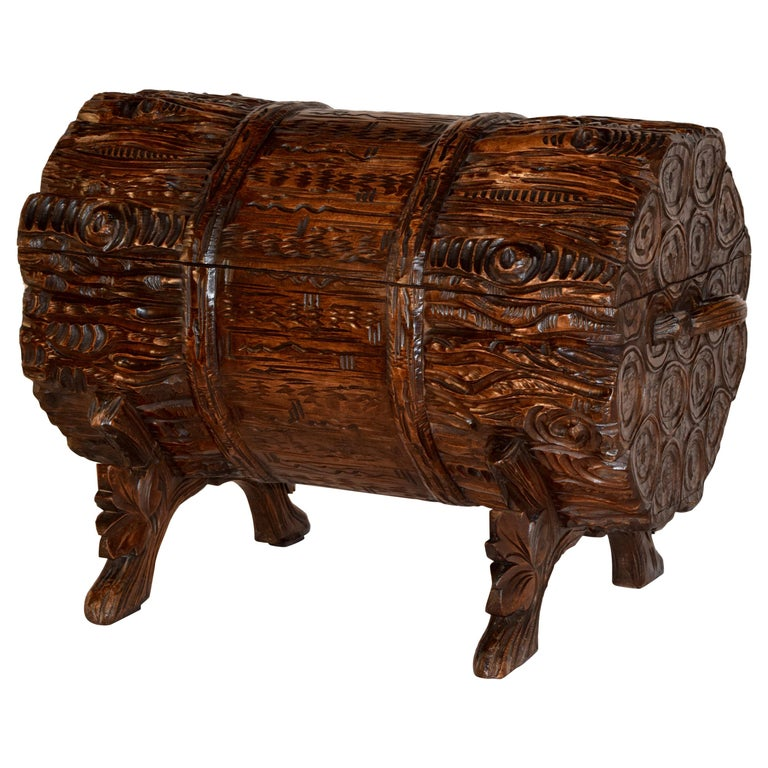 19th Century Black Forest Carved Trunk For Sale