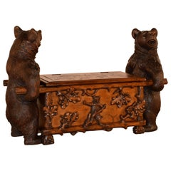 19th Century Black Forest Carved Unusual Bear Bench