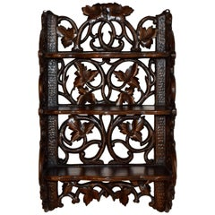 19th Century Black Forest Carved Wall Shelf