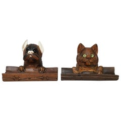 19th Century Black Forest Carved Walnut Dog and Cat Head Inkwells with Pen Rest