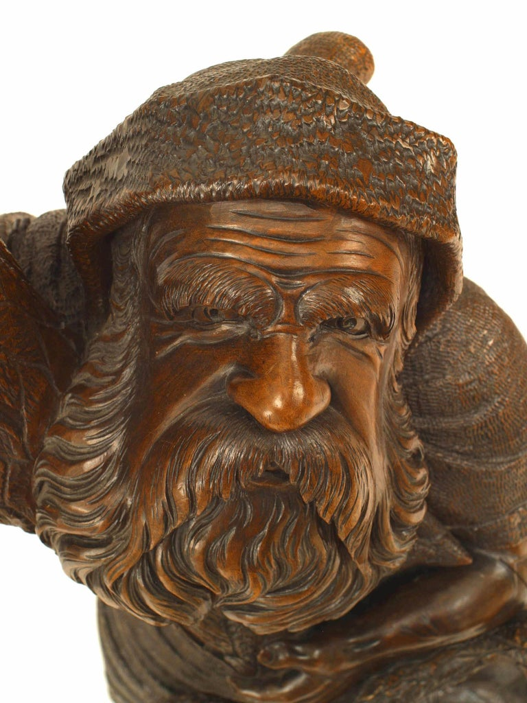 19th Century Black Forest Carved Walnut Gnome Coat Rack